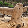 Large stylised Tawny Owl (to be left as natural wood)