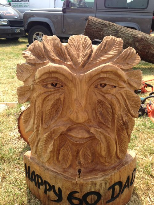 Greenman face in oak  - carved by my wife Michele.