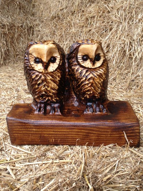 Two Baby Owls - in oak - carved by my wife Michele.