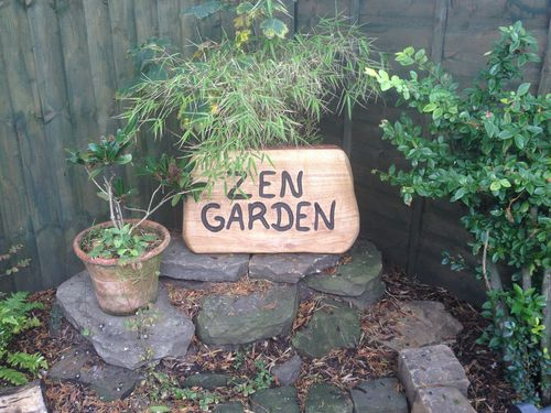 ZEN GARDEN sign - in oak