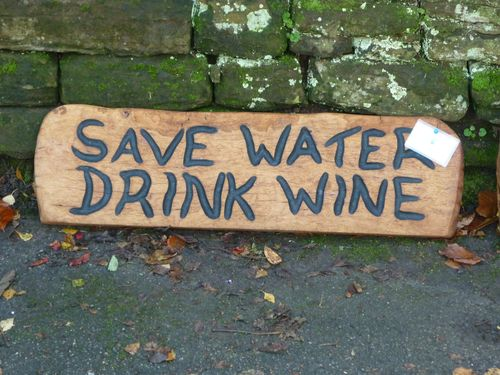 'Save Water Drink Wine' sign  - carved by my wife Michele.