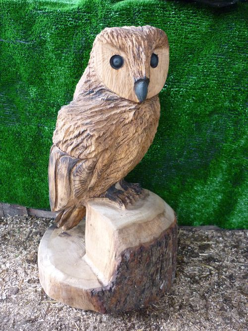 Chainsaw carved triple owls totem pole white pine wood sculpture