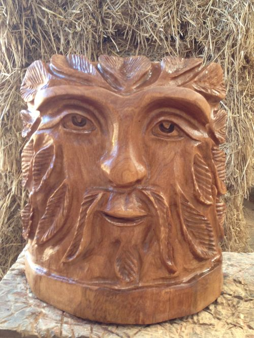 Greenman face  - carved by my wife Michele.