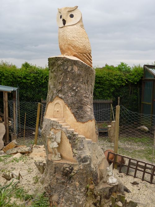 A chainsaw sculptures over metres high the owl and