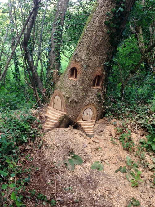 Fairy Doorways carved into a tree