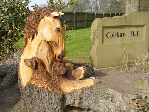 B privately commissioned chainsaw sculptures horse s