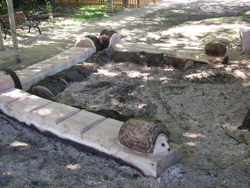 C chainsaw sculptures for schools public places hedgehog